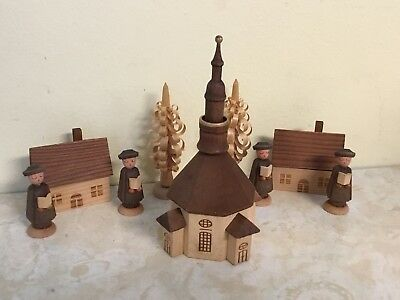 Hand Made Carved Wood Church Scene Carolers Trees Building Painted Unique German