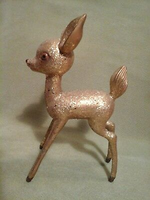 Vintage Gold Glitter Plastic Christmas Deer Figure Big Ears