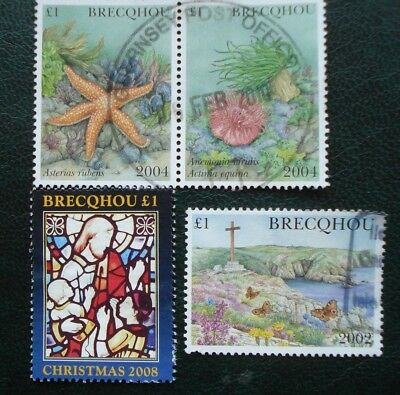 Brecqhou Guernsey,  Four Used Stamps, Two 2004, One 2008, & One 2002.