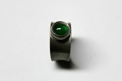 "Pewter Ring  Denmark Modernist Green Stone Adjustable Signed ""JORGEN JENSEN"""
