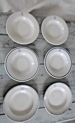 6 assiettes creuses faience FRANCE Marine Nationale  ancre
