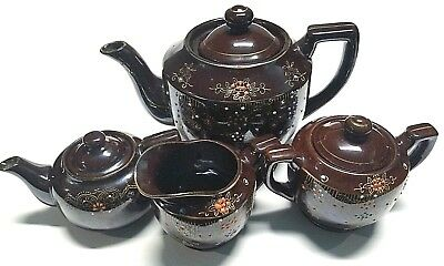 Vintage Japan Brown and Gold Hand Painted 4 Piece Soup/Tea set Betty Pot Redware