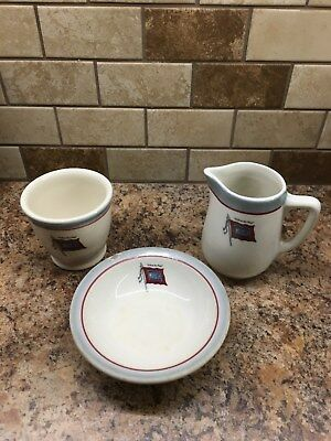 """Wabash """"Follow the Flag"""" creamer, egg cup and bowl."""