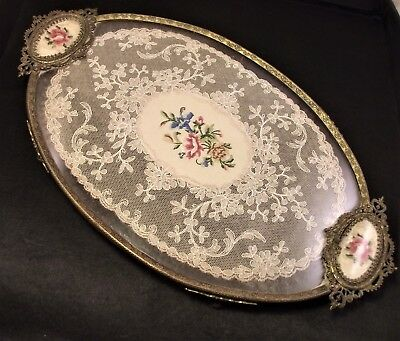 Unusual Vintage Petit Point Lace Tray Emroidered Handles