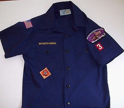 Vintage BSA CUB SCOUTS Uniform Shirt w/patches Boy Scout L made in USA VG