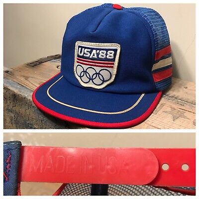 Vintage 1988 Olympics Snapback Mesh 3 Stripes Trucker Hat Made in USA NR RARE