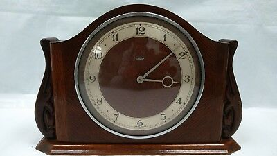 SUPERB METAMEC DEREHAM ART DECO Electric Mantel Clock  DARK OAK STAND