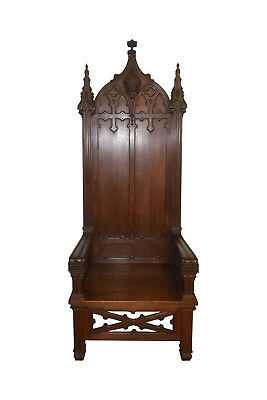 Monumental Gothic Throne or Bishops Chair, Walnut, Turn of Century, Religious