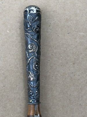Antique Chinese Export Sterling Silver Cane Walking Stick 32 3/4""