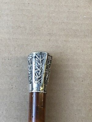 Antique Chinese Export Sterling Silver Cane Walking Stick 33.5""