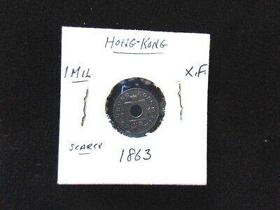 Hong Kong 1863 Coin 1 Mil  Very Scarce  Foreign Coin Xf