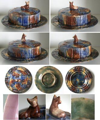 Pretty/Old Majolica Very RARE & NICE Etruscan Cow Butter Dish
