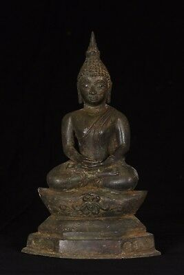Antique 19th Century Southeast Asia Laos Meditation Buddha Statue - 28cm/11""