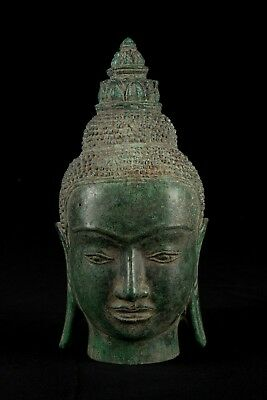 19th Century Antique Khmer Bronze Bayon Style Buddha Head Statue - 26cm/10""