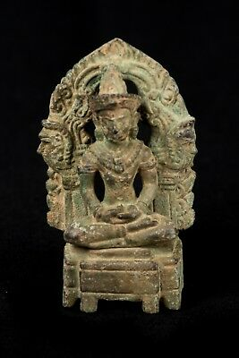 19th Century Antique Bronze Enthroned Khmer Meditation Buddha Statue - 7.5cm/3""