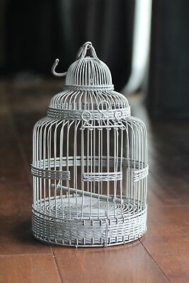 Decorative Grey Metal Bird Cage / House w/ Swinging Perch - 13 in. Tall