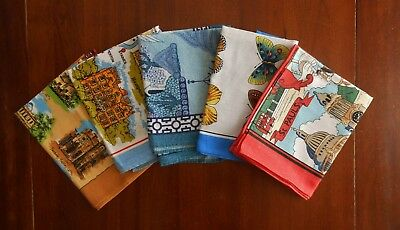 5 Vintage IRISH LINEN Cotton Scenic Kitchen Tea Towel ULSTER Old Stock Lot