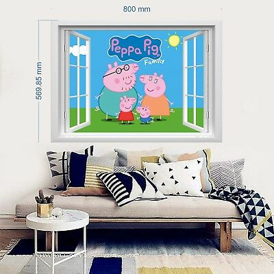 PEPPA PIG 3D Wandtattoo Wandaufkleber Kinder Decoration wall stickers 57x80cm
