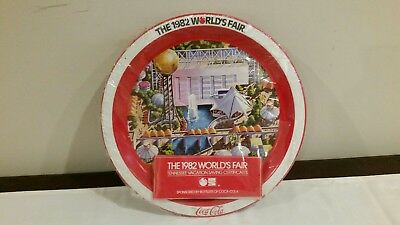 1982 Worlds Fair tin serving tray plate Coca Cola souvenir Brand New and Sealed