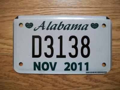 """SINGLE ALABAMA LICENSE PLATE - 2011 - D3138 - MOTORCYCLE DEALER """"Heart of Dixie"""""""