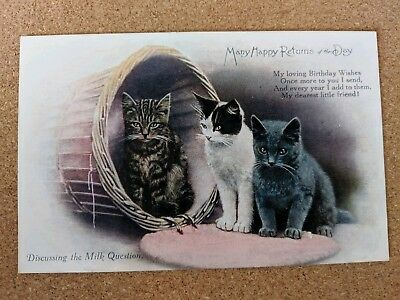 Cat vintage postcard. Happy Birthday. Written 1919 not mailed. Three young cats.
