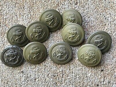 Ww2 German Original Buttons For The Coastal Artillery Personnel Tunic. Set Of 10