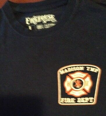 Vintage  Madison Twp, Indiana Fire Department Colorful T Shirt-Large