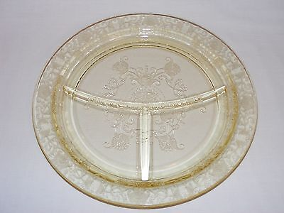 Vintage 1930's Yellow Depression Glass Florentine Divided Grill Plate