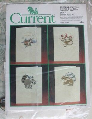 Current Critters Counted Cross Stitch Christmas Card Set of 4 NIP Vintage 6896-4