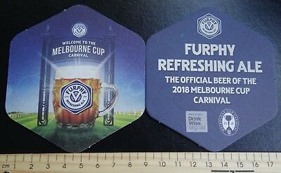 2 x FURPHY REFRESHING ALE 2018 MELBOURNE CUP AUSTRALIA BEER COASTERS