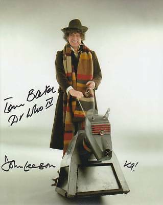Tom Baker and John Leeson In Person Signed Photograph - A388 - Doctor Who