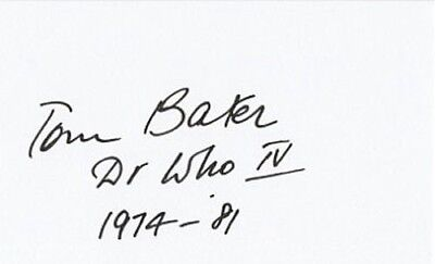 Tom Baker Signed In Person Card -SC11- Doctor Who IV 1974 - 81