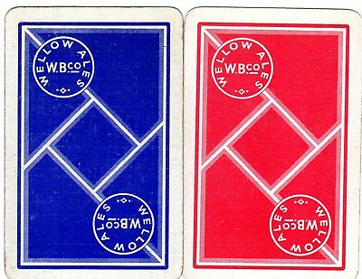 """Pair of RARE VINTAGE """"Wellow British Brewery"""" SINGLE Playing Cards"""