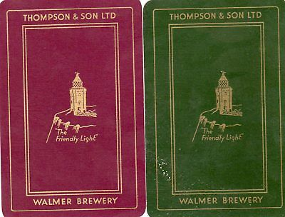 """Pair of RARE VINTAGE """"Thompson & Son British Brewery"""" SINGLE Playing Cards"""