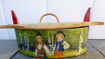 "Swedish 9"" WOOD TINA BOX - SWEETHEARTS - BIRCH TREES - RATTVIK, DALARNA  Sweden"