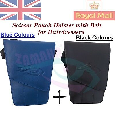 Blue Barber Pouch Hairdressing Scissors Holster belt bag stylist shears holster