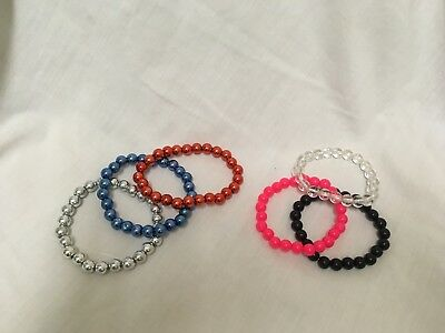 Justice for Girls elastic bead Bracelet lot of 6 accessories