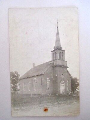Harmony Minnesota Lutheran Church RPPC Postcard Mailed 1907 to Taylor ND