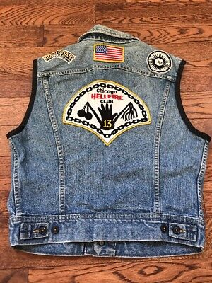 Vintage 70's 80's Chicago Hellfire Club Patch Gay Bondage/ Lee Vest - Small