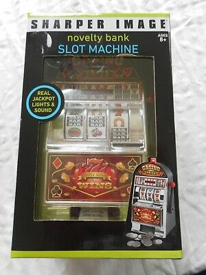 SHARPER IMAGE - Electronic Casino Slot Machine Coin Bank - New in Box