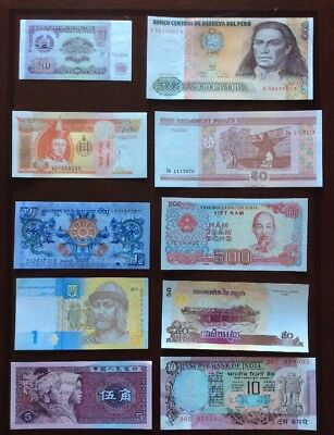 10 Different Mix World Banknotes Unc Set B