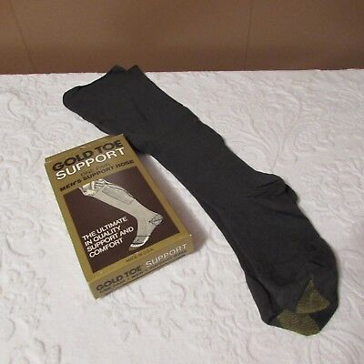 Retro Vintage Gold Toe SUPPORT HOSE Compression Socks Grey Men's M Made In USA