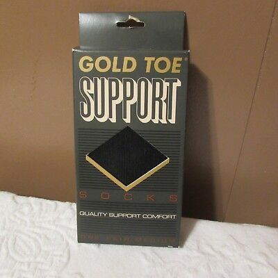 Retro Vintage Gold Toe SUPPORT HOSE Compression Socks Black Men's M Made In USA