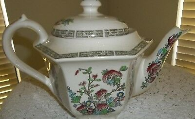Vintage Indian Tree Multi Sided Teapot England Hand Engraved