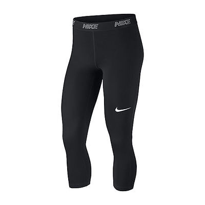 NWT NIKE Women's LOGO PERFORMANCE Capri Leggings BLACK WHITE XS S M XL