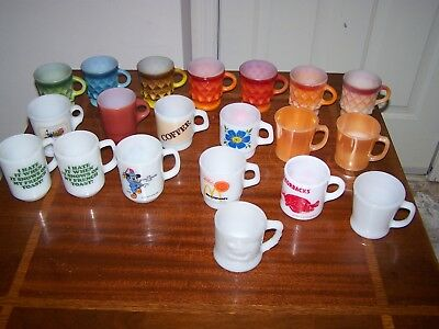 Vintage Fire-king & Anchor Hocking, Avon,Snoopy,Mickey, McDonalds mugs lot of 20