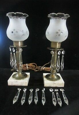 Vintage Pair Of Brass & Marble Base Boudoir Lamps Frosted Shades Great Project!!