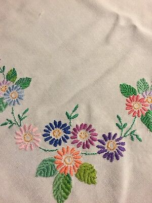 Very Pretty Vintage Hand Embroidered Cream Cotton Small Round Tablecloth