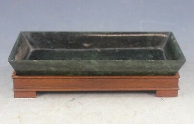Vintag. Chinese Carve. Jade Brush Washer With Wood Stand
