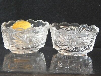 2 Open Salt Cellars Dips Leaded Crystal West Germany Starburst Ridges.Nut Dishes